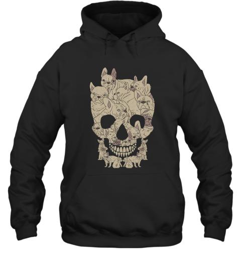 French Bulldog Skull Skeleton Halloween Frenchie Tee Hoodie