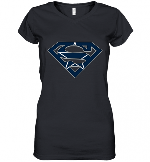 We Are Undefeatable The Dallas Cowboys x Superman NFL Women's V-Neck T-Shirt