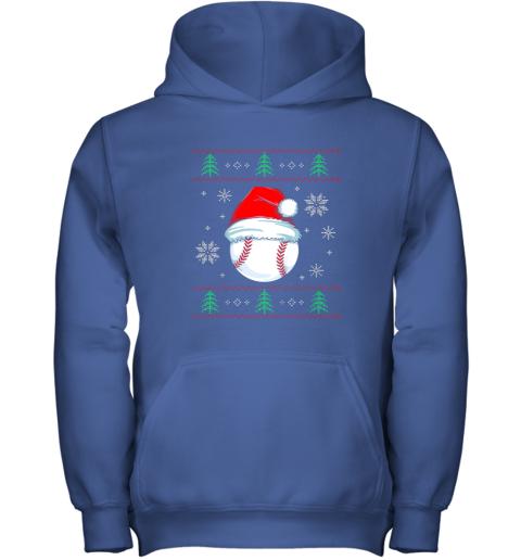 zjj9 ugly christmas baseball shirt boys kids ball santa pajama youth hoodie 43 front royal