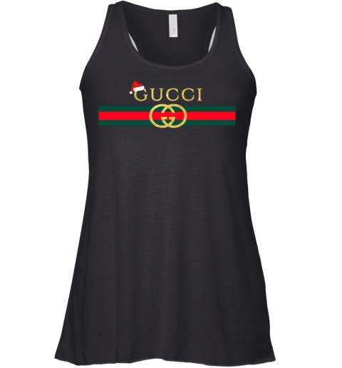 Gucci Glitter Logo Vintage Inspired Santa Hat Merry Christmas Gift Womens Racerback Tank Top