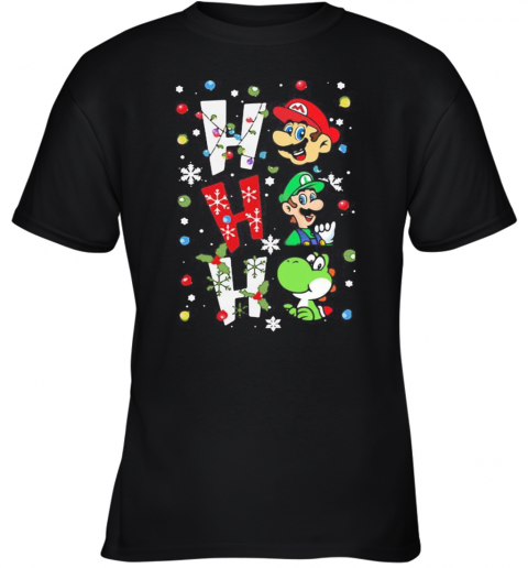 Mario Ho Ho Ho Merry Christmas Youth T-Shirt