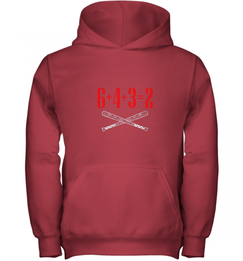 h5xm funny baseball math 6 plus 4 plus 3 equals 2 double play youth hoodie 43 front red