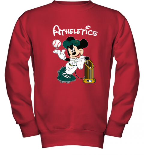 6euu oakland athletics mickey taking the trophy mlb 2019 youth sweatshirt 47 front red