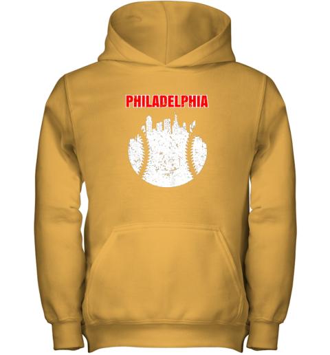 xjqs vintage philadelphia cityscape baseball retro youth hoodie 43 front gold