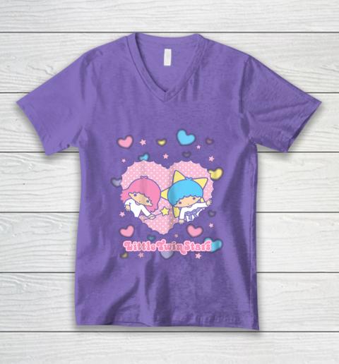 Little Twin Stars Retro Logo Valentine V-Neck T-Shirt 8