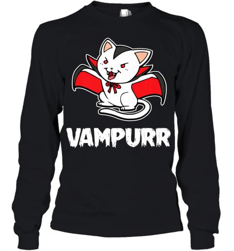 Vampurr Halloween Costume Funny Vampire Kitten Cat Dracula Premium Youth Long Sleeve