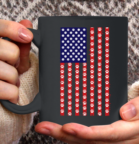 Handball Dog Lover American Flag Ceramic Mug 11oz