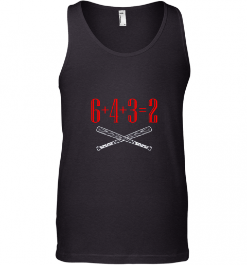 i4ja funny baseball math 6 plus 4 plus 3 equals 2 double play unisex tank 17 front black