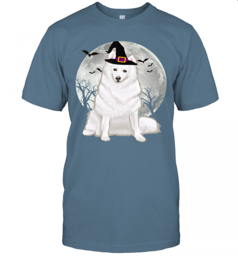 Scary American Eskimo Dog Witch Hat Halloween T-Shirt