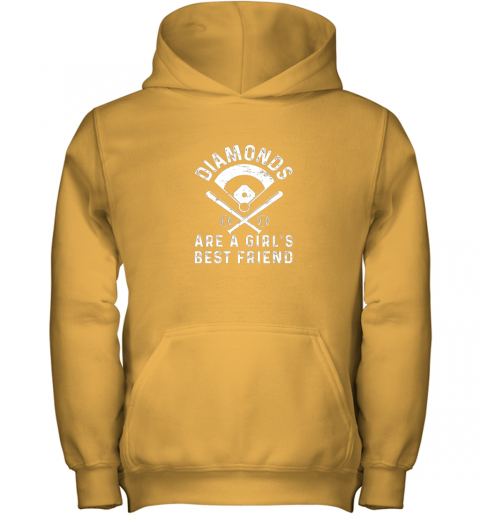 qc1q diamonds are a girl39 s best friend baseball youth hoodie 43 front gold