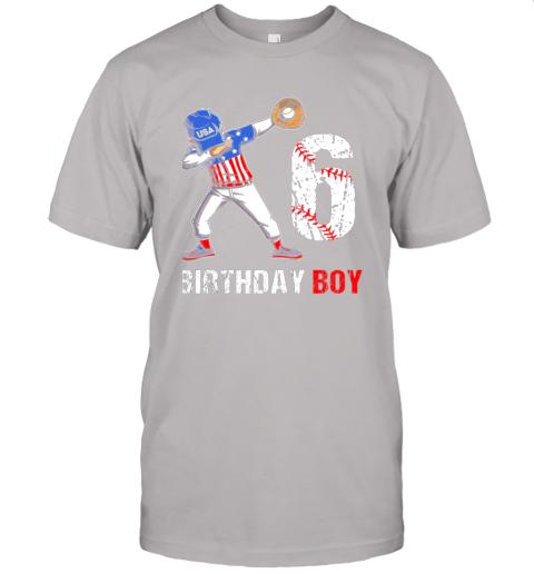sstz kids 6 years old 6th birthday baseball dabbing shirt gift party jersey t shirt 60 front ash