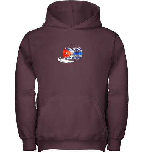 7fzn vintage baseball cuba flag shirt cuban pride youth hoodie 43 front maroon