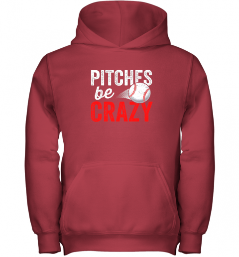 miwg pitches be crazy baseball shirt funny pun mom dad adult youth hoodie 43 front red