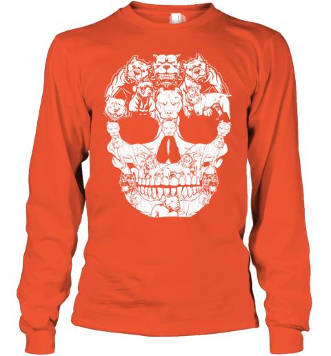 Pitbull Dog Skull Shirt Halloween Costumes Gift Youth Long Sleeve