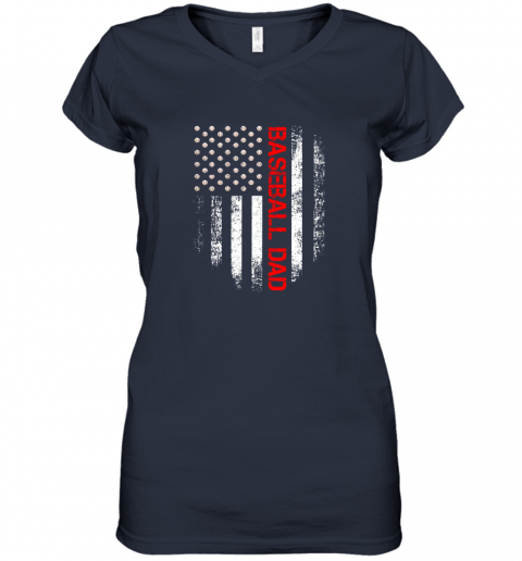 ptfp vintage usa american flag proud baseball dad player women v neck t shirt 39 front navy