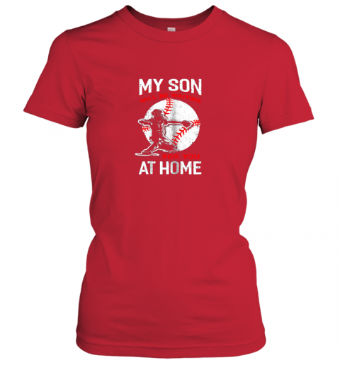 trpz my son will be waiting for you at home baseball dad mom ladies t shirt 20 front red