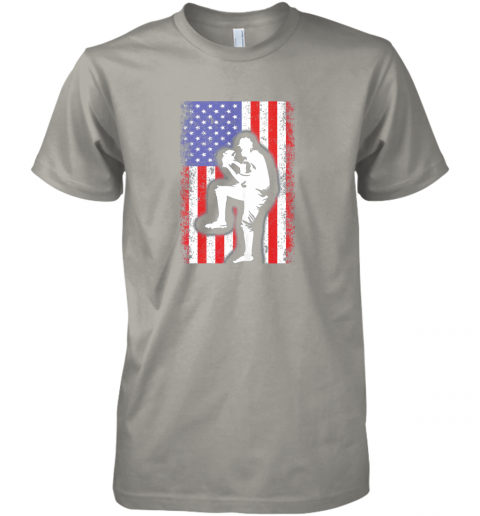 wiud vintage usa american flag baseball player team gift premium guys tee 5 front light grey