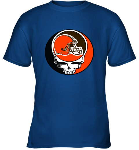mo2t nfl team cleveland browns x grateful dead logo band youth t shirt 26 front royal