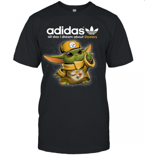 Baby Yoda Adidas All Day I Dream About Pittsburg Steelers Unisex Jersey Tee