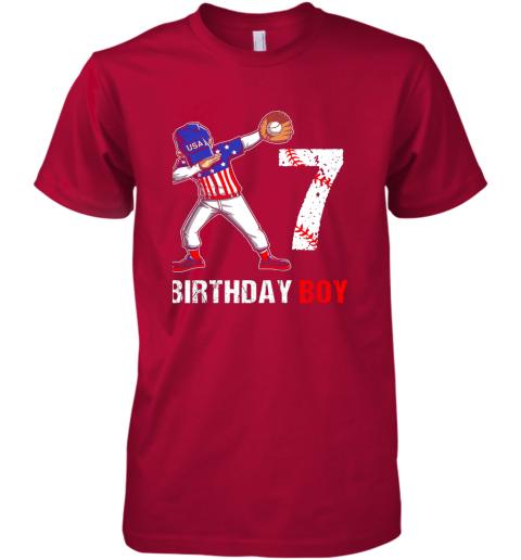 payk kids 7 years old 7th birthday baseball dabbing shirt gift party premium guys tee 5 front red