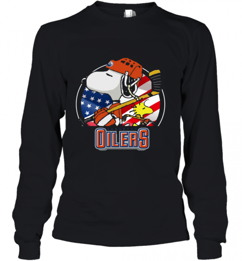 Edmonton Oilers Snoopy And Woodstock NHL Youth Long Sleeve
