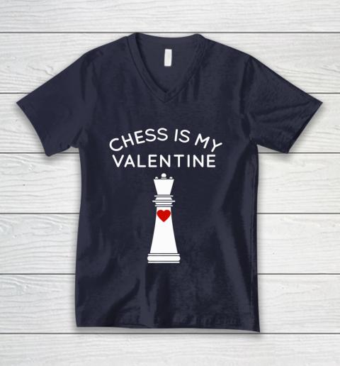 Chess Is My Valentine V-Neck T-Shirt 2