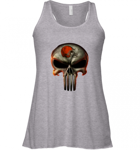 pxzt cleveland browns the punisher mashup football flowy tank 32 front athletic heather