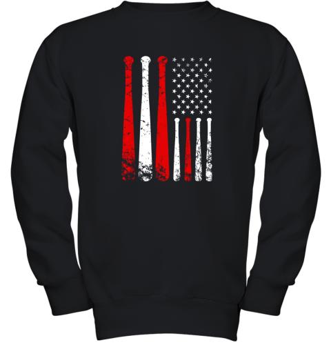 Baseball Inspired American Flag Distressed Youth Sweatshirt