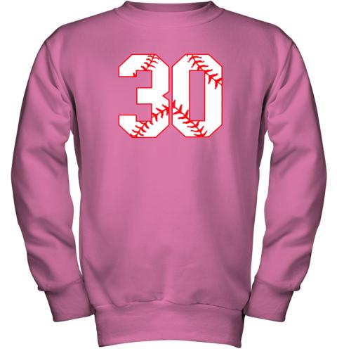 g99j thirtieth birthday party 30th baseball shirt born 1989 youth sweatshirt 47 front safety pink