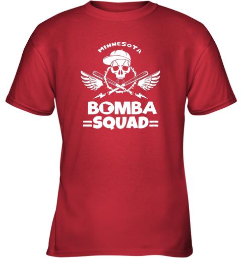 w1aw bomba squad twins shirt minnesota baseball men bomba squad youth t shirt 26 front red