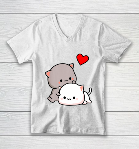 Mochi Peach Cat Goma Love Is Kind Love Hugs Kisses Valentine V-Neck T-Shirt