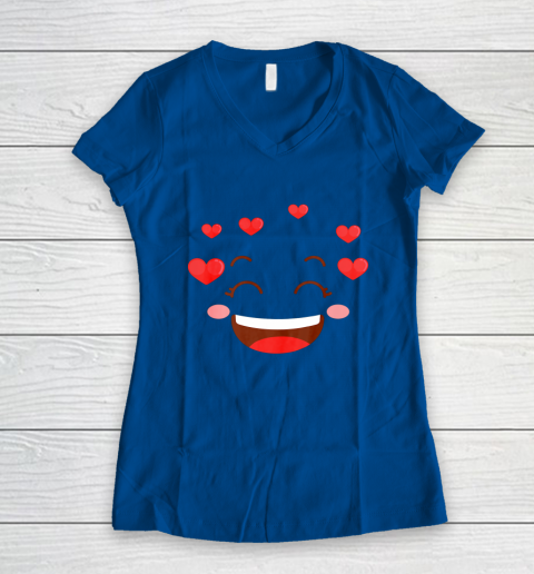 Kids Girls Valentine T Shirt Many Hearts Emoji Design Women's V-Neck T-Shirt 7