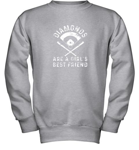 wnhk diamonds are a girl39 s best friend baseball youth sweatshirt 47 front sport grey