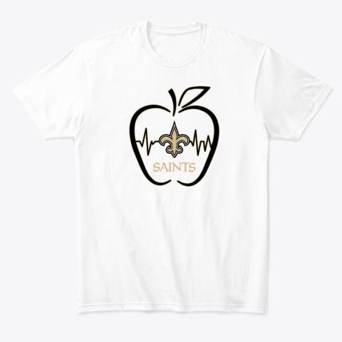 Apple Heartbeat Teacher Symbol New Orleans Saints T-Shirt