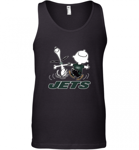 Snoopy And Charlie Brown Happy New York Jets NFL Tank Top