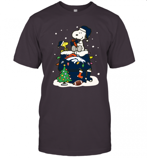 A Happy Christmas With Denver Broncos Snoopy Unisex Jersey Tee