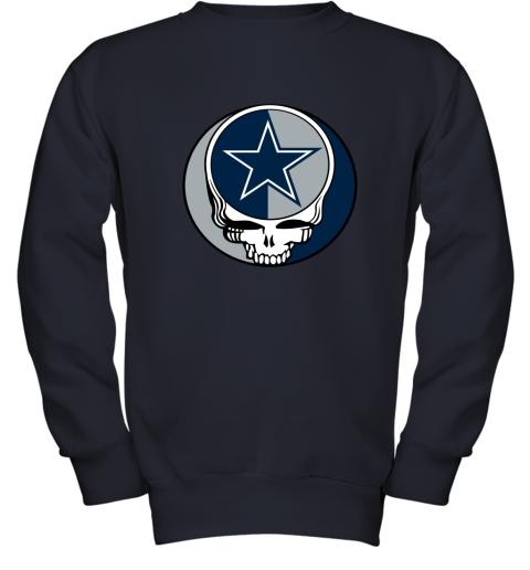 ulnq nfl team dallas cowboys x grateful dead youth sweatshirt 47 front navy