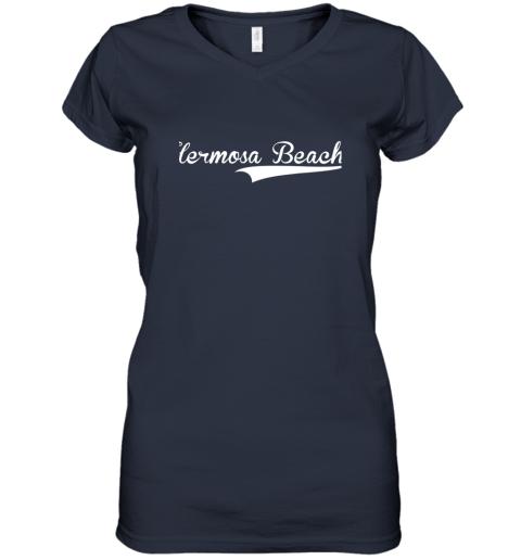 lyrq hermosa beach baseball softball styled women v neck t shirt 39 front navy
