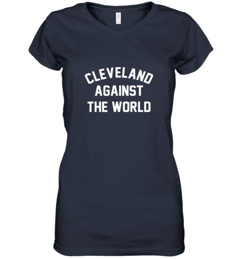 nxxk cleveland against the world football baseball basketball women v neck t shirt 39 front navy
