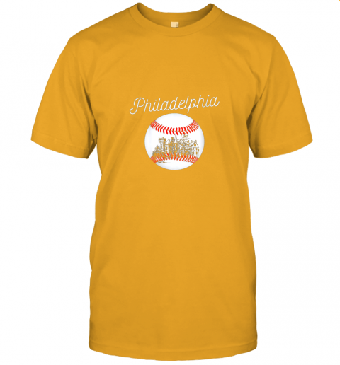 yc2t philadelphia baseball philly tshirt ball and skyline design jersey t shirt 60 front gold