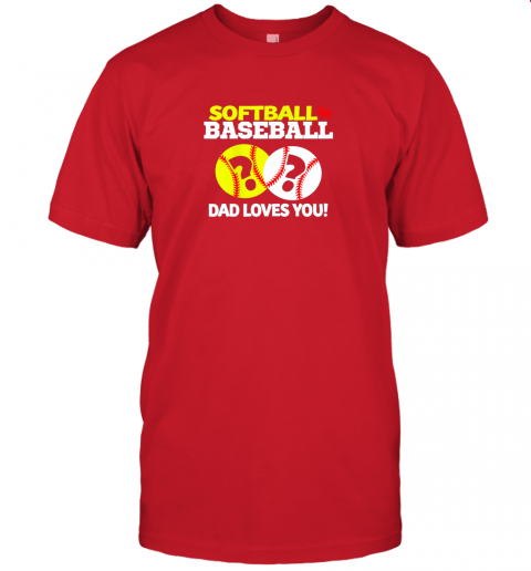 kt5l softball or baseball dad loves you gender reveal jersey t shirt 60 front red
