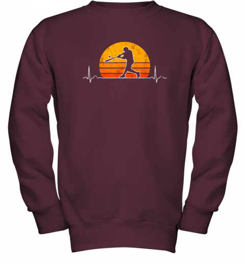 cjng vintage baseball heartbeat retro sunset swinging batter gift youth sweatshirt 47 front maroon