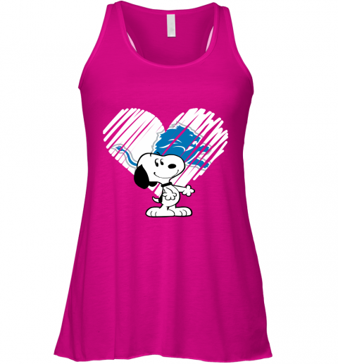 nznt i love snoopy detroit lions in my heart nfl flowy tank 32 front neon pink