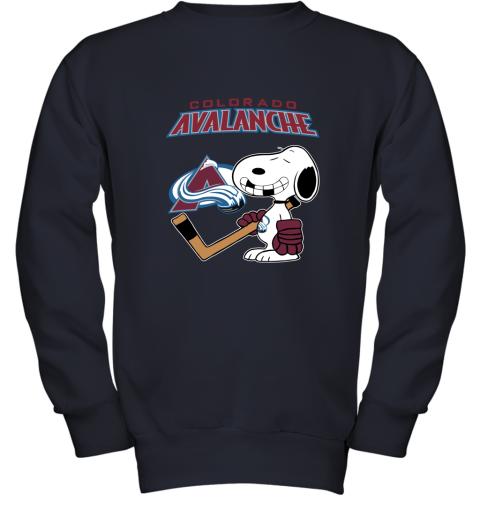 Colorado Avalanche Ice Hockey Broken Teeth Snoopy NHL Youth Sweatshirt