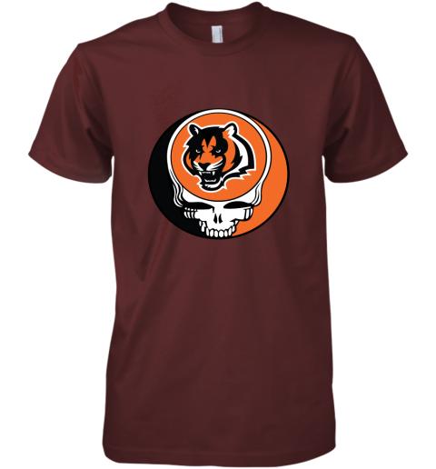 tz3i nfl team cincinnati bengals x grateful dead logo band premium guys tee 5 front maroon