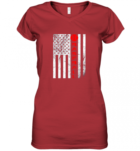 tsq7 usa red whitevintage american flag baseball gift women v neck t shirt 39 front red
