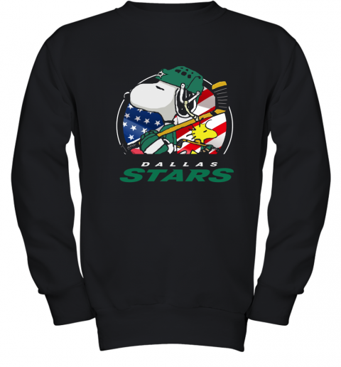 Dallas Stars Ice Hockey Snoopy And Woodstock NHL Youth Sweatshirt
