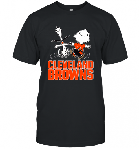 Snoopy And Charlie Brown Happy Cleveland Browns Fans Unisex Jersey Tee