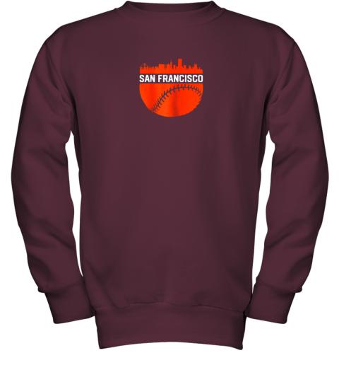 x0kx vintage downtown san francisco cali skyline baseball youth sweatshirt 47 front maroon