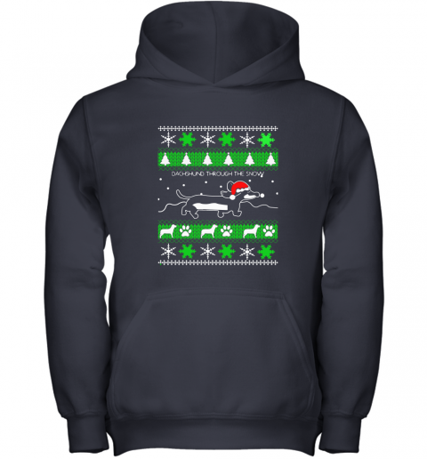 Dachshund Through The Snow Ugly Christmas Adult Crewneck Youth Hoodie